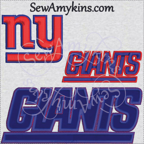 NY Giants football team logo applique embroidery design