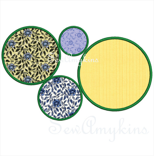 circle applique machine embroidery design frame border