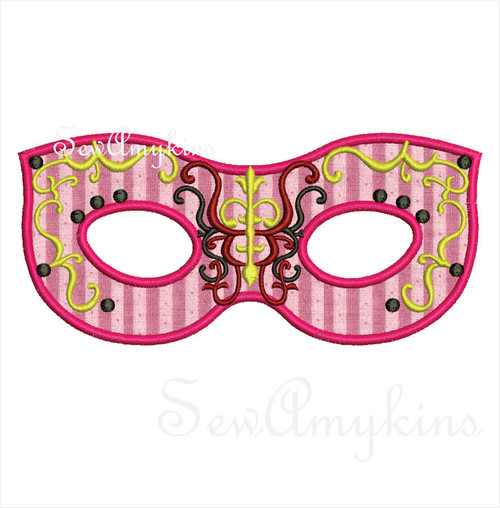Mardi Gras Mask applique machine embroidery digitized design Halloween