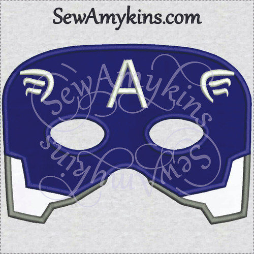 captain America mask applique halloween machine embroidery design