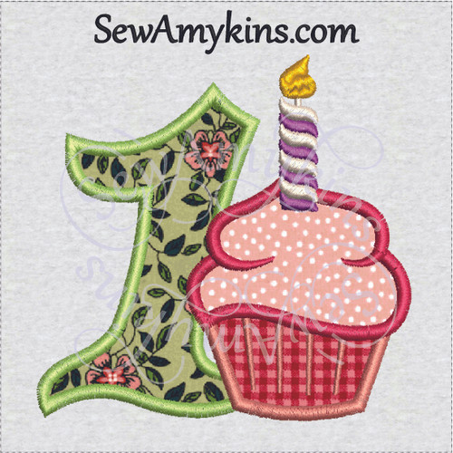 first birthday cupcake applique machine embroidery design girl girly 1st one candle cup cake