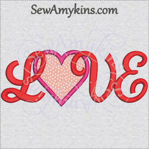 love heart applique machine embroidery capital letters word Valentine day