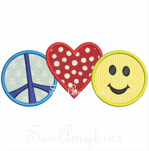 Peace Love Happiness applique