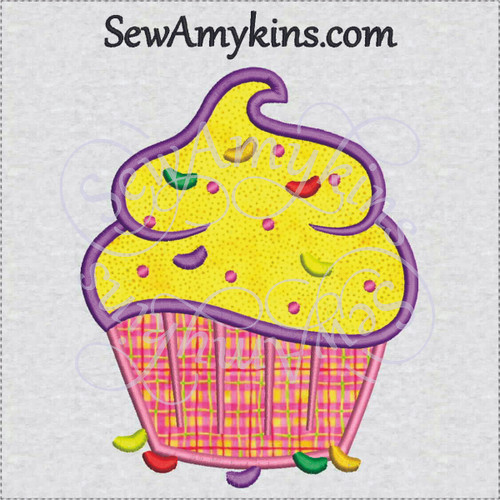 cupcake applique Easter jelly bean candy machine embroidery design sewamykins
