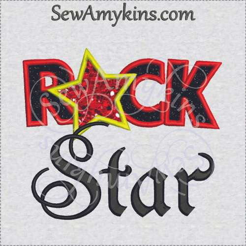 Rock star machine applique embroidery design