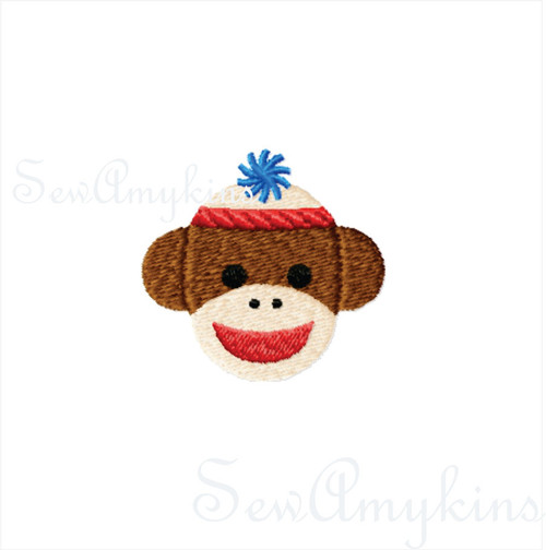 BOY Sock Monkey mini fill stitch machine embroidery design