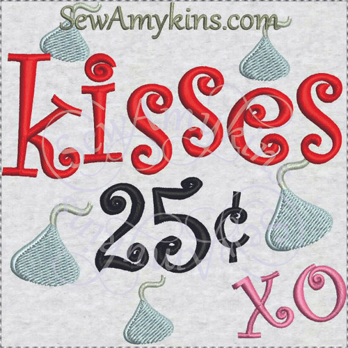 chocolate kiss 25 cents machine embroidery design candy kisses