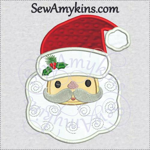santa applique face head hat machine embroidery design