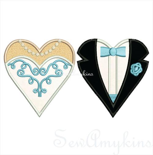 Bride Groom applique Heart