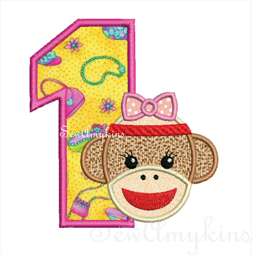 Birthday Number Sock Monkey Girl applique machine embroidery design set 0-9 numbers one two