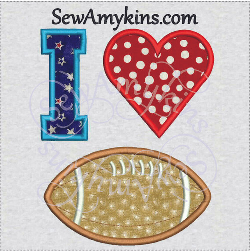I love football applique heart embroidery design