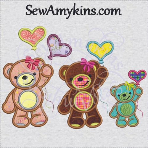 girl bear applique with balloon balloons heart applique