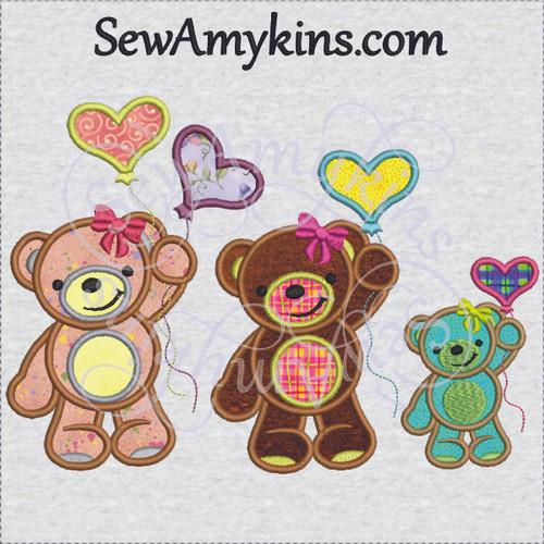 girl bear applique with balloon balloons heart applique