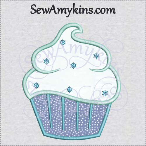 cupcake applique snow snowflakes sprinkles winter frosting sewamykins machine embroidery design