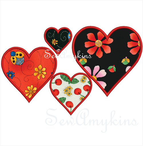 simple heart hearts applique machine embroidery design Valentine