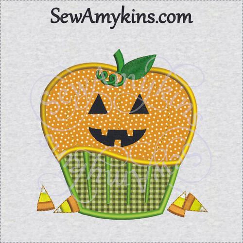 cupcake pumpkin applique machine embroidery design halloween jack o lantern