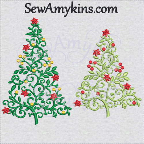 elegant vine Christmas tree embroidery design lace lacy poinsettia iron work dots bulbs