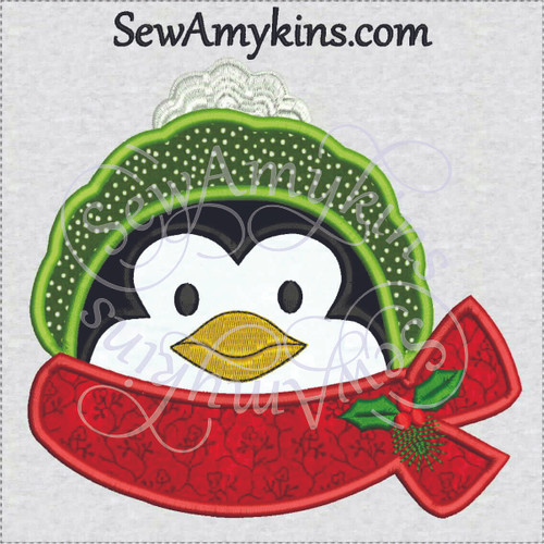 penguin face applique head Christmas scarf hat winter bird machine embroidery design