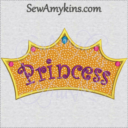 crown Princess applique word tiara machine embroidery
