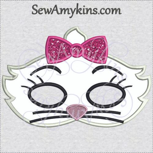 Marie Aristocats mask girl cat kitten applique Halloween embroidery