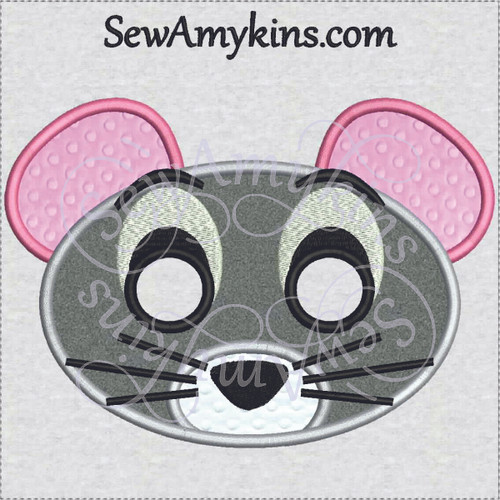 mouse mask jerry applique machine embroidery halloween face