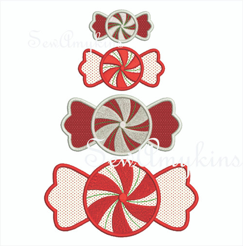 peppermint candy applique 1 layer embroidery mint candy