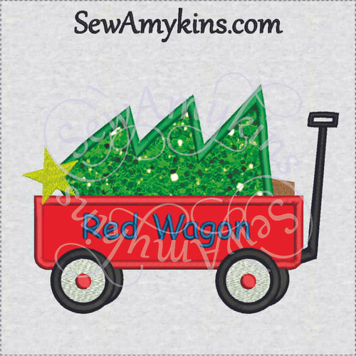 wagon applique Christmas tree embroidery design