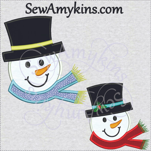 frosty snowman applique embroidery design snow man
