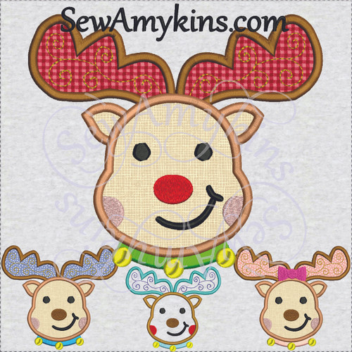 girl or boy or Rudolph reindeer moose applique embroidery design bow Christmas deer