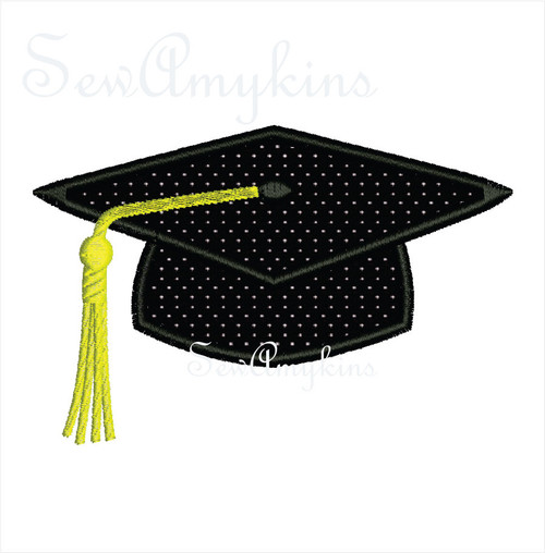 Graduation Cap applique Mortarboard Hat