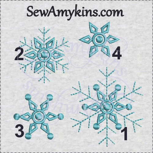 Snowflakes machine embroidery design snowflake snow flake 4 files