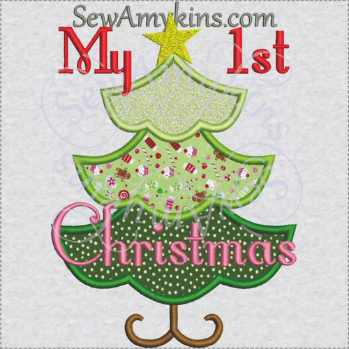 My 1st Christmas tree applique star embroidery design girly baby first