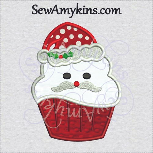 santa cupcake applique machine embroidery design Christmas hat holly
