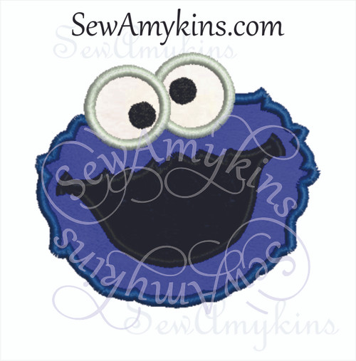 Cookie Monster face applique embroidery design