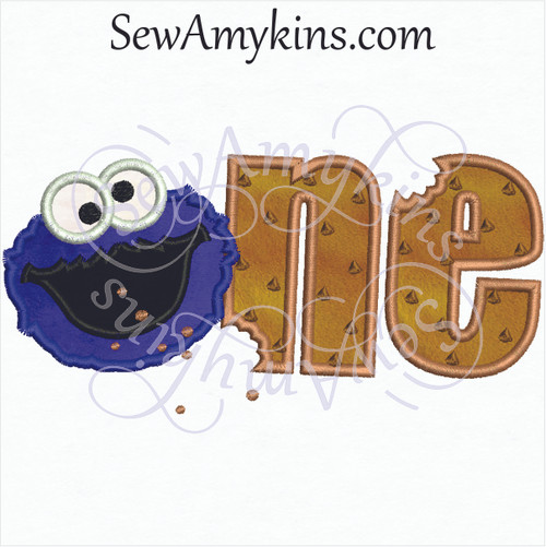 Cookie Monster 1 applique face with applique number one chocolate chip cookies