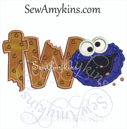 cookie monster 2 face applique birthday number embroidery design