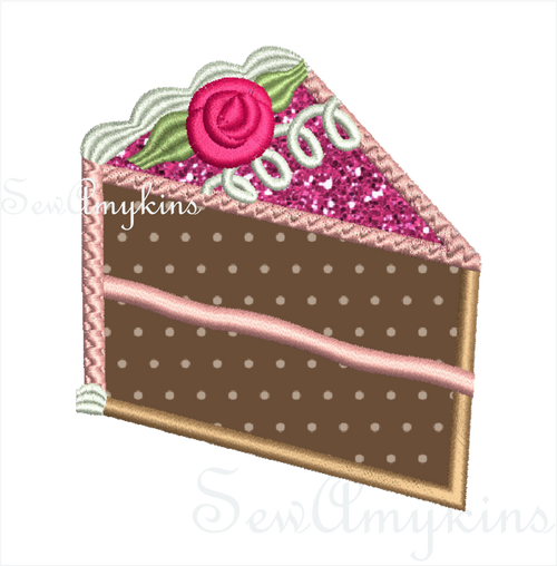 Slice of Birthday Cake applique embroidery
