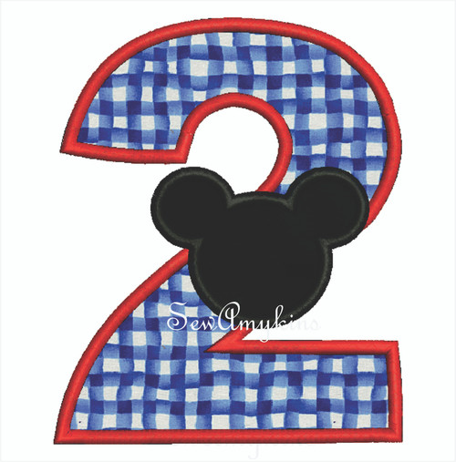 Mickey Mouse applique Number 2