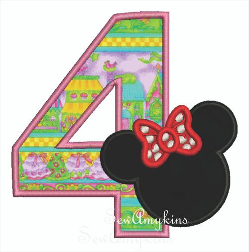 Minnie Mouse applique Number 4