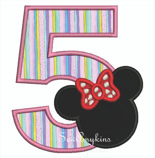Minnie Mouse applique Number 5
