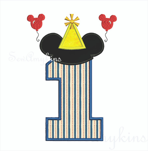Mickey Mouse applique Number 1 party hat & balloons