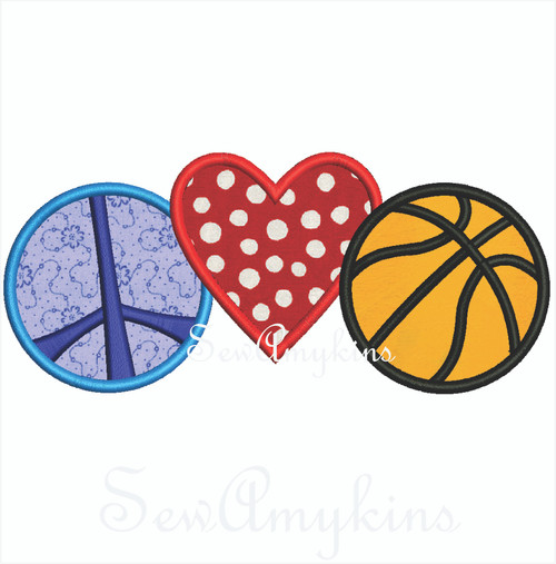 Peace Love Basketball 2 sizes
