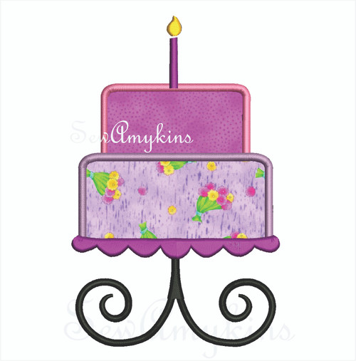 Tiered Birthday Cake applique layers candle on a cake stand