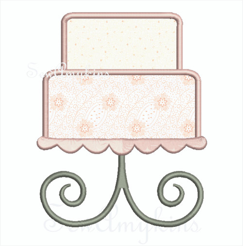 Tiered Wedding Party Cake applique layers on a cake stand