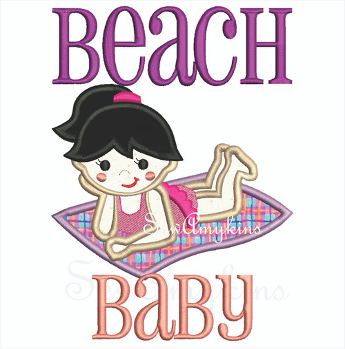 Beach Baby girl on blanket applique