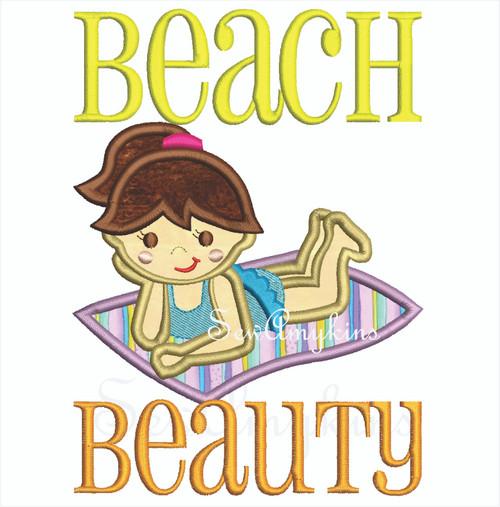 Beach Beauty girl on blanket applique
