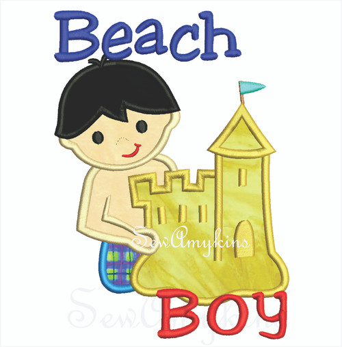 Beach Boy wearing shorts applique making a sand castle.