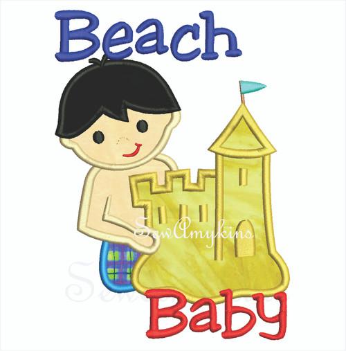 Beach baby boy making a sand castle applique.