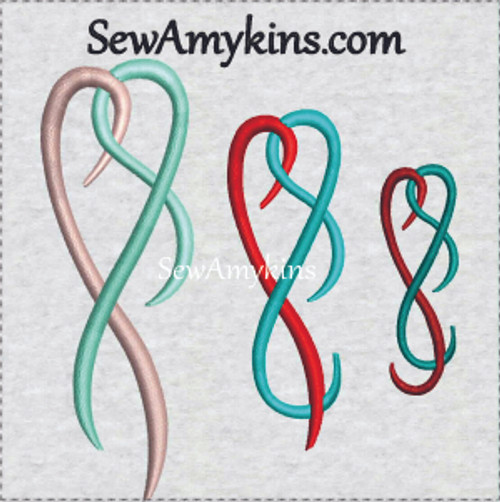 two color ribbon flourish embroidery design entwined heart
