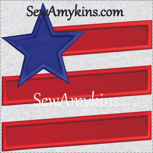 simple primitive flag star stripes applique machine embroidery design